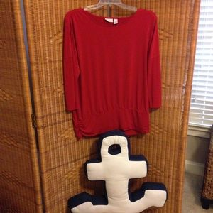 Chicos dk red 3/4 length sleeve top sz 3 or XL VGC